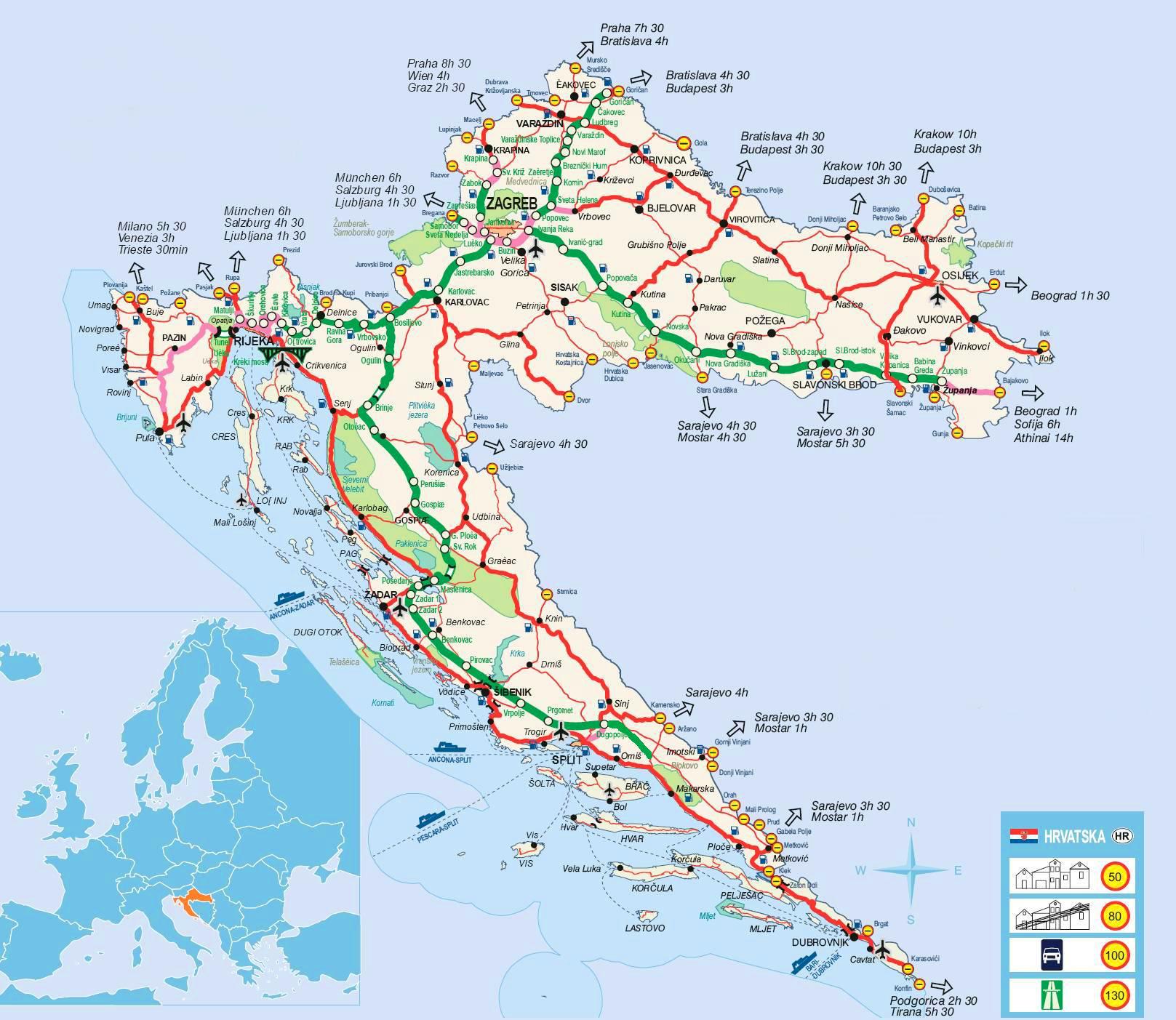 Kaart Kroatie