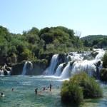 Zwemmen bij de watervallen in Krka