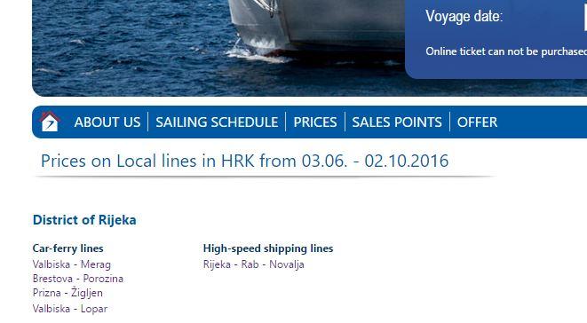 Kroatie veerboot tarieven