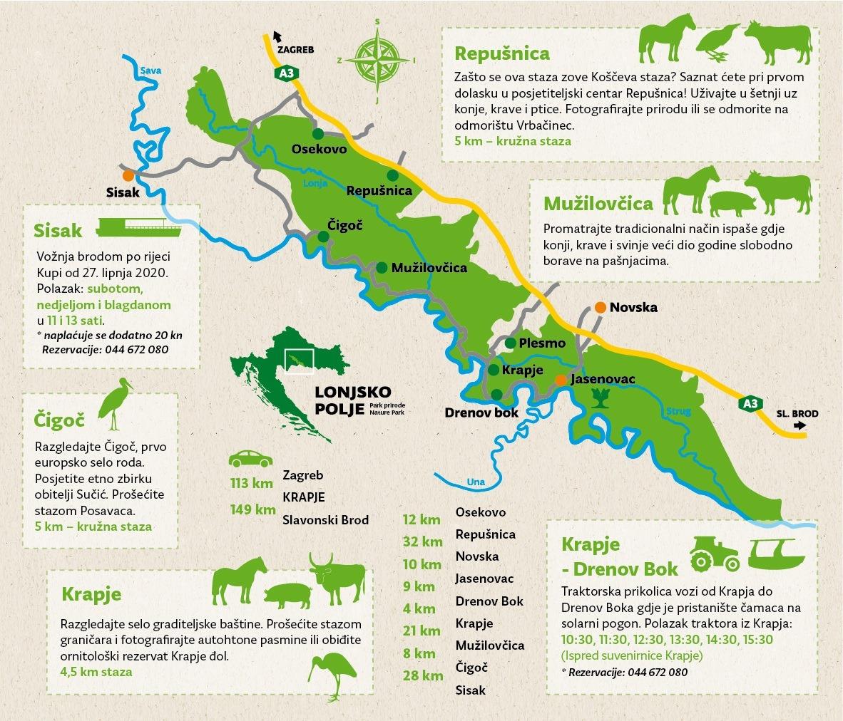 Lonsko Polje kaart
